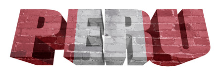 mapa peru: Bandera Nacional del Per� en la palabra de una textura de ladrillo aislado en blanco Foto de archivo