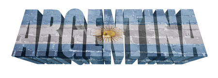 National Flag of Argentina on the word of a brick texture isolated on white photo