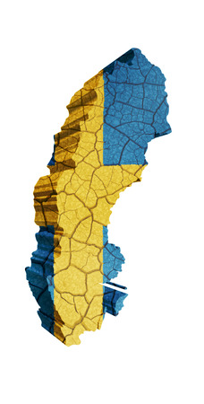 Map of Sweden on cracked texture isolated on white photo