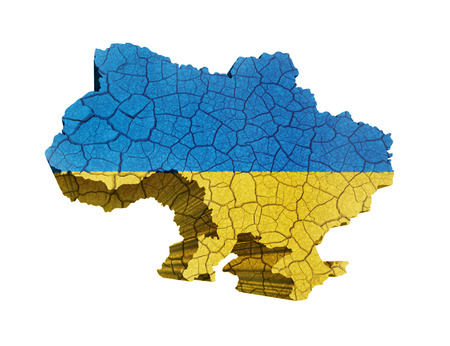 Map of Ukraine on cracked texture isolated on white photo