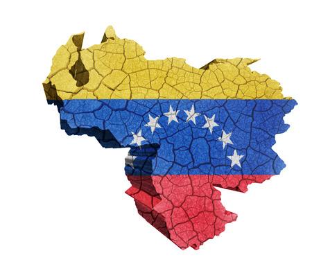 Map of Venezuela on cracked texture isolated on white photo