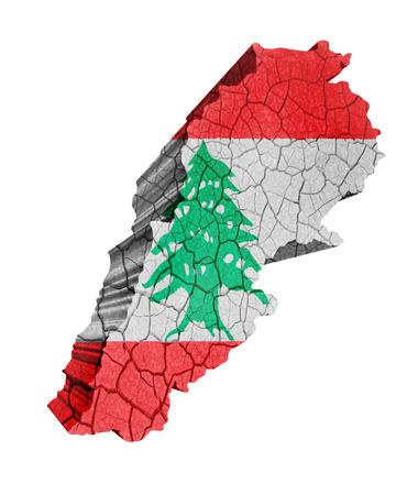beirut: Map of Lebanon on cracked texture isolated on white Stock Photo