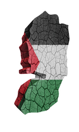 Map of Palestine on cracked texture isolated on white photo