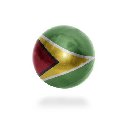 guyanese: Flag of Guyana on the ball isolated on white Stock Photo