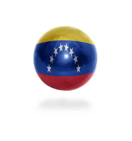 Flag of Venezuela on the ball isolated on white photo
