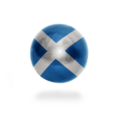 Flag of Scotland on the ball isolated on white photo