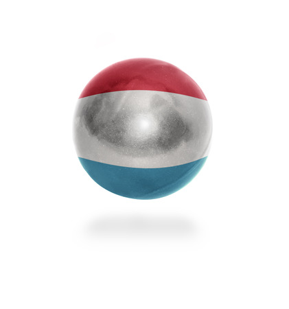 Flag of Luxembourg on the ball isolated on white photo
