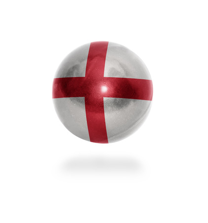 Flag of England on the ball isolated on white photo