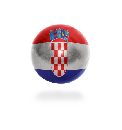 Flag of Croatia on the ball isolated on white photo