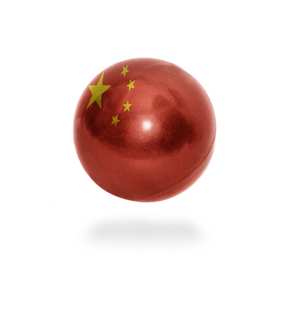 Flag of China on the ball isolated on white photo