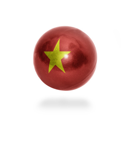 Flag of Vietnam on the ball isolated on white photo