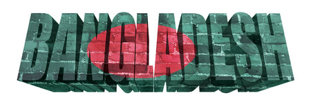 National Flag of Bangladesh on the word of a brick texture isolated on white photo