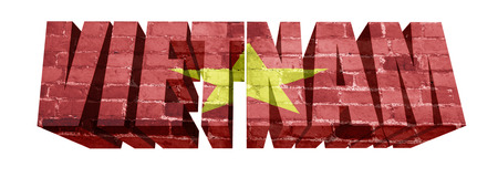National Flag of Vietnam on the word of a brick texture isolated on white photo