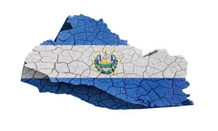 mapa de el salvador: Mapa de El Salvador en la textura agrietada aislada en blanco Foto de archivo