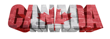 National Flag of Canada on the word of a brick texture isolated on white photo