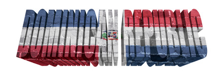dominican republic: National Flag of Dominican Republic on the word of a brick texture isolated on white Stock Photo