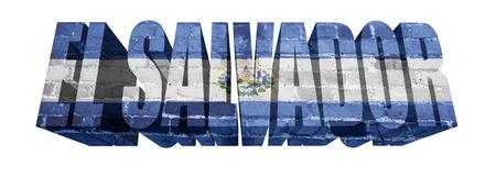bandera de el salvador: Bandera nacional de El Salvador en la palabra de una textura de ladrillo aislado en blanco Foto de archivo