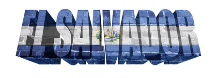 el salvador flag: National Flag of El Salvador on the word of a brick texture isolated on white