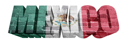 National Flag of Mexico on the word of a brick texture isolated on white photo