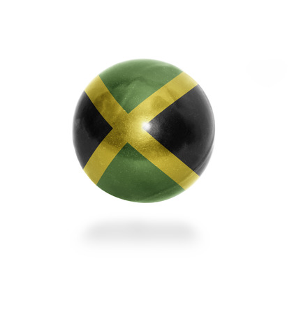 Flag of Jamaica on the ball isolated on white photo