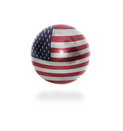 Flag of United states of america on the ball isolated on white photo