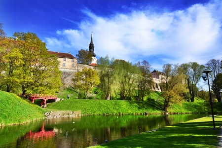 well maintained: Beautiful park in the center of Tallinn Stock Photo