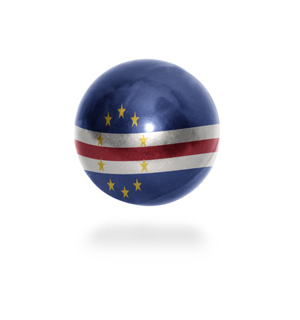 verde: Flag of Cape Verde on the ball isolated on white Stock Photo