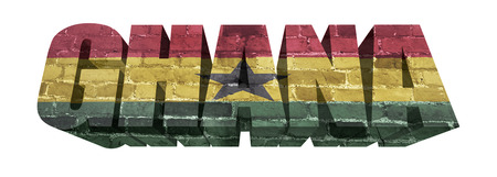 National Flag of Ghana on the word of a brick texture isolated on white photo