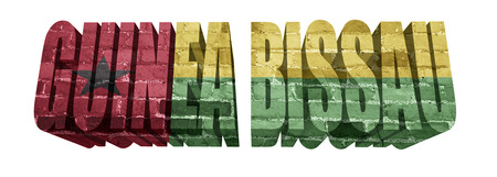 guinea bissau: National Flag of Guinea Bissau on the word of a brick texture isolated on white Stock Photo