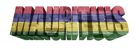 mauritius: National Flag of Mauritius on the word of a brick texture isolated on white