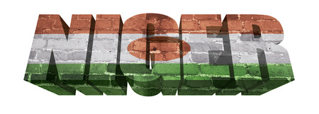 National Flag of Niger on the word of a brick texture isolated on white photo