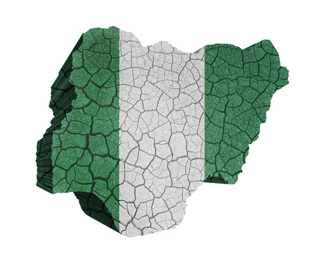 Map of Nigeria on cracked texture isolated on white photo