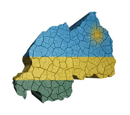 kigali: Map of Rwanda on cracked texture isolated on white Stock Photo