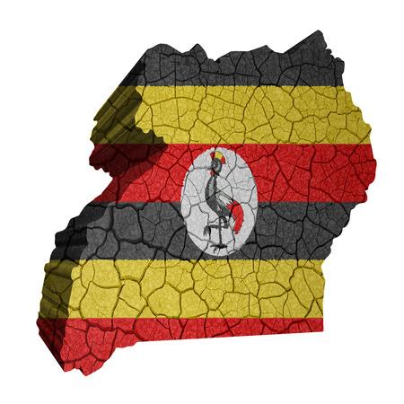 uganda: Map of Uganda on cracked texture isolated on white Stock Photo
