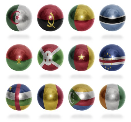 African countries  From A  to C  flag balls on a white background photo