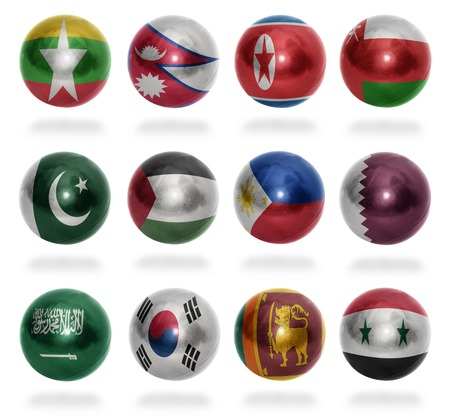 Asian countries  From M to S  flag balls on a white background