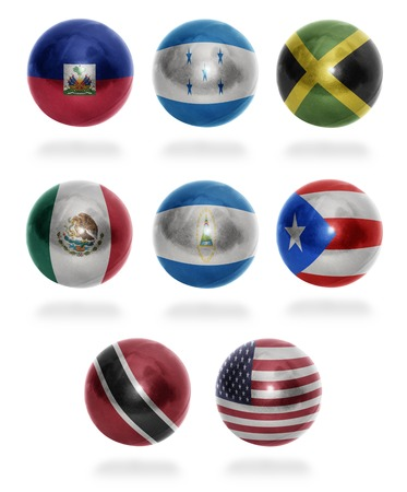 trinidadian: North America countries  From H to U  flag balls on a white background