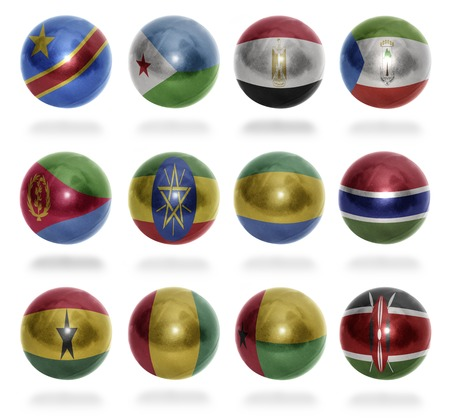 ethiopia flag: African countries  From D to K  flag balls on a white background