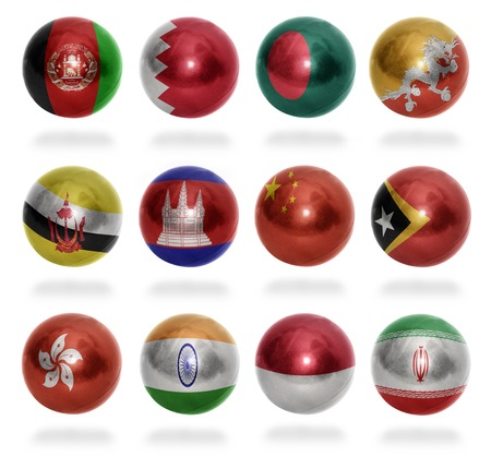 Asian countries  From A to I  flag balls on a white background photo