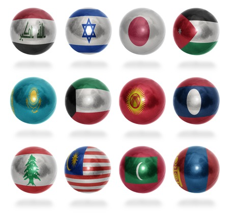 Asian countries  From I to M  flag balls on a white background photo