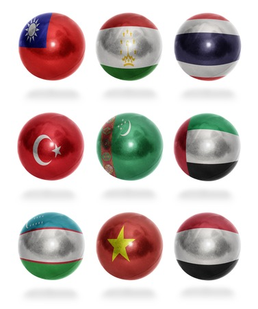 mideast: Asian countries  From T to Y  flag balls on a white background