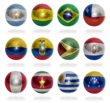 South America countries flag balls on a white background photo