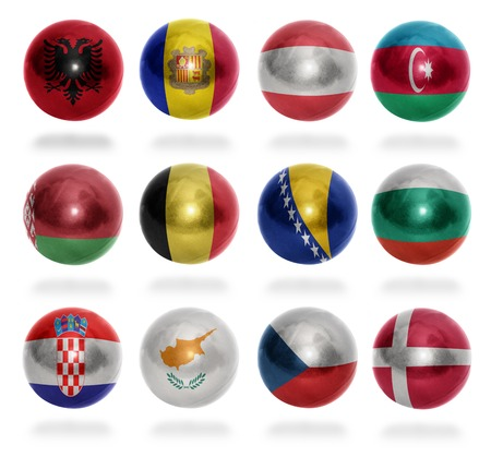 European countries  From A to D  flag balls on a white background photo