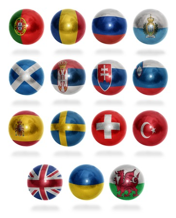 European countries  From P to W  flag balls on a white background photo