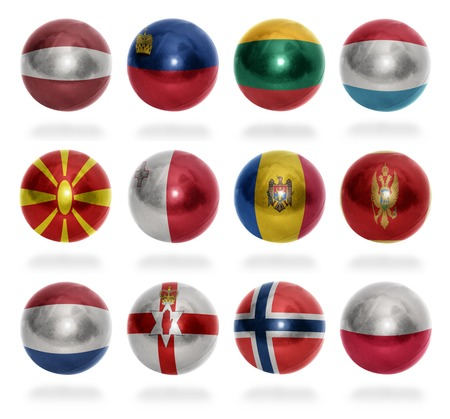 European countries  From L to P  flag balls on a white background photo