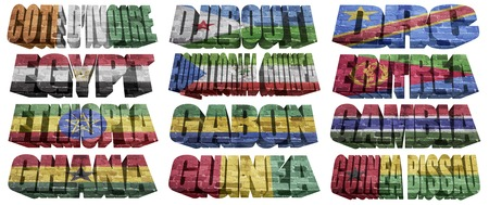 African countries  From C to G  flag words on a white background photo