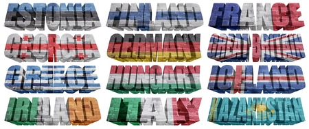 European countries (From E to K) flag words on a white background photo