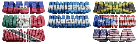 North America countries (From H to U) flag words on a white background photo