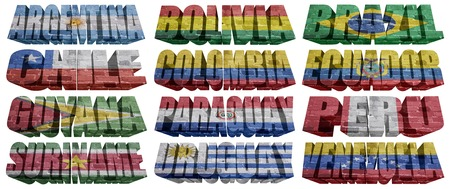 South America countries flag words on a white background photo