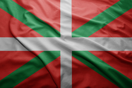 bilbao: Waving colorful Basque Country flag